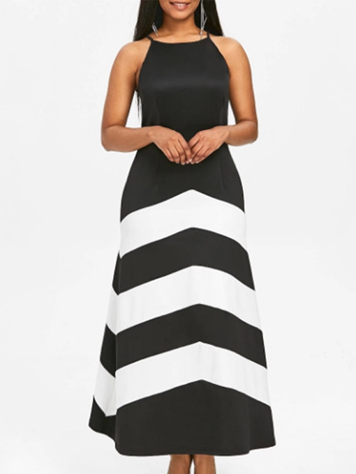 Summer A-Line Stripe Sleeveless Maxi Dress