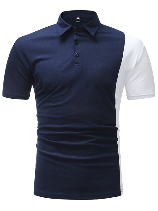 Lapel Patchwork Leisure Slim Men's Polo