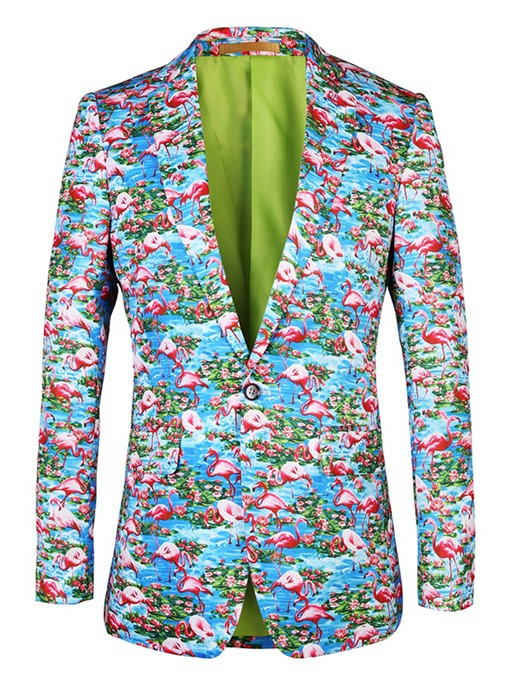 Flamingo Print One Button Men's Leisure Blazer