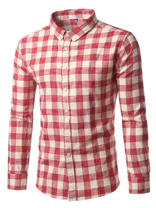 Lapel Plaid Leisure Slim Men's Shirt