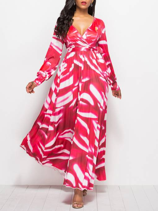 Summer Print Long SLeeve Maxi Dress