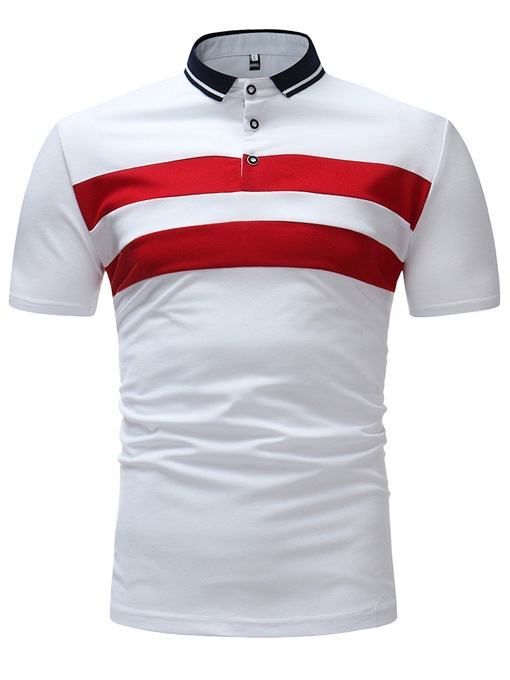 Lapel Stripe Plain Slim Men's Polo