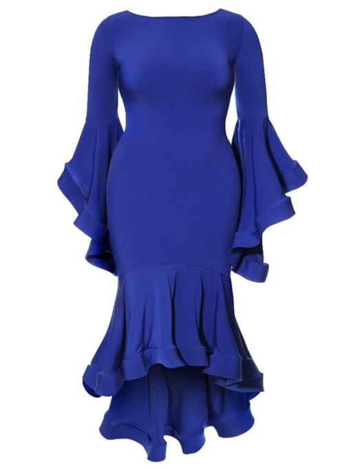 Taille plus robe de bodycon à manches bleu royal à volants