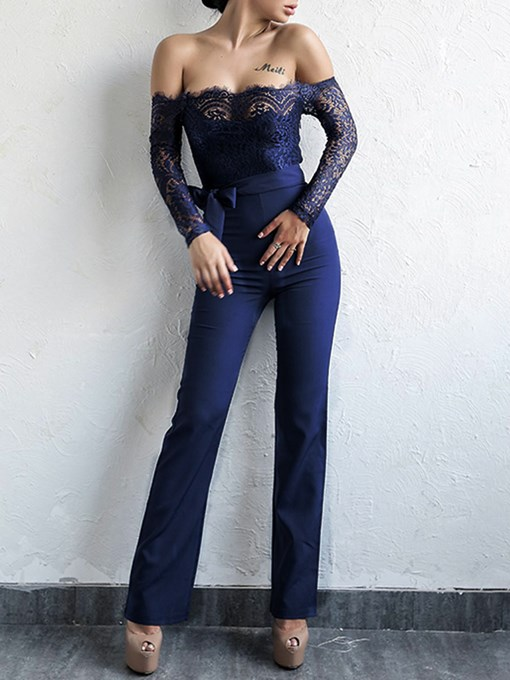 Lace Plain Off Shoulder Women's Jumpsuit