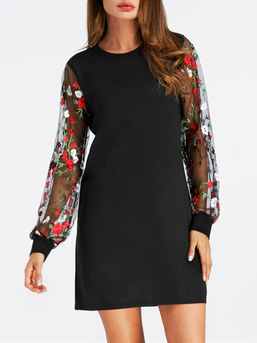 Summer Floral Embroidery Long Sleeve Day Dress