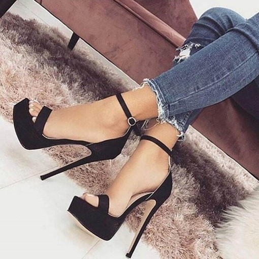 Open Toe Line-Style Buckle Heel Women's Sandals