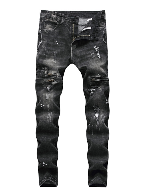 Straight Worn Zipper Men's Ripped Jeans