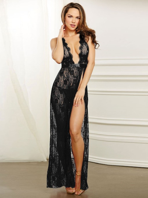 Slit Up Backless See-Through Long Sexy Nightgown