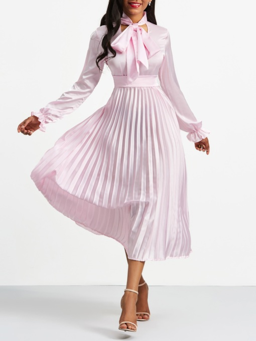 Pink Tie Neck Long Sleeve Women's Day Dress