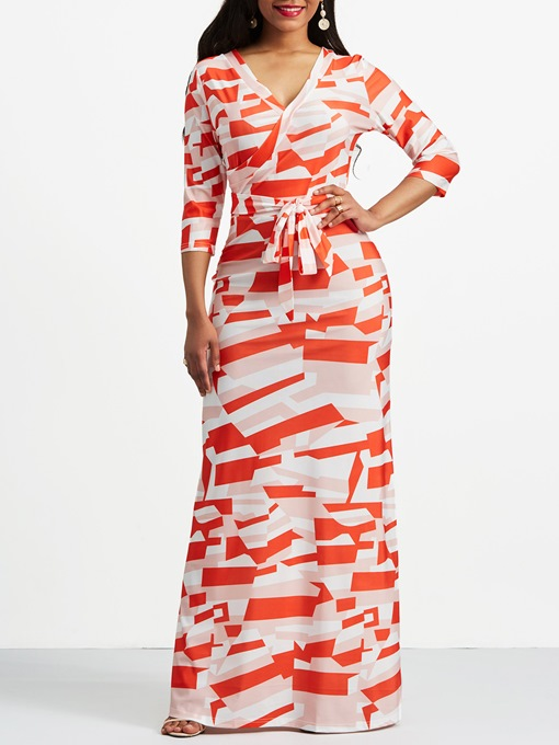 3/4Length Sleeve V-Neck Printing Maxi Dress