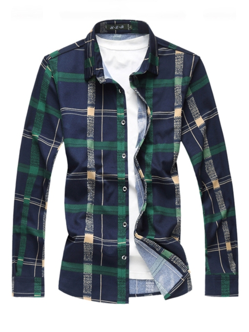 Lapel Thin Color Block Plaid Men's Shirt