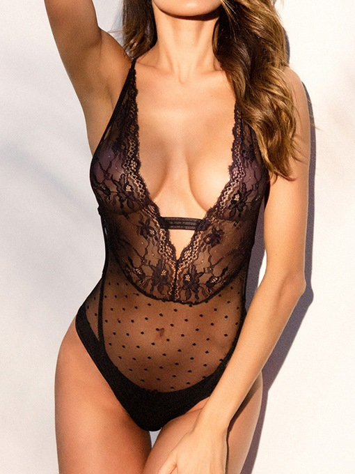 Deep V Neck Sexy Lace Backless Criss-Cross Teddy