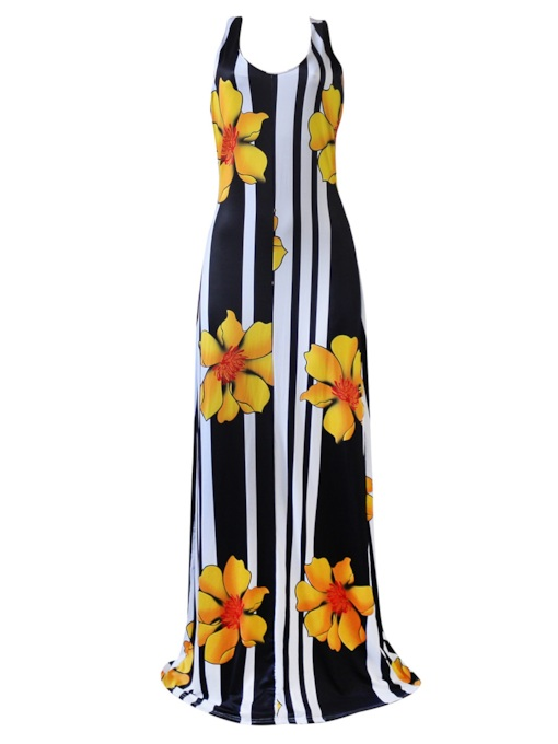 Stripe Floral Print Sleeless Maxi Dress