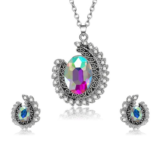 Colorful Rhinestone Pendant Jewelry Sets