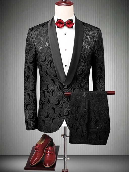 Notched Collar One Button Leisure Men's Dress Suit