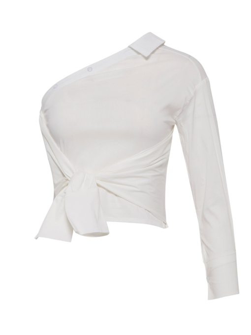 One-Shoulder-Off Tie Front Top Women's Shirt
