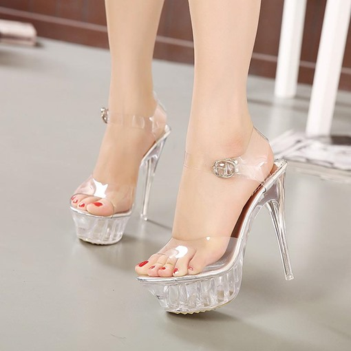PVC Ankle Strap See-Through Buckle Women's Sandals