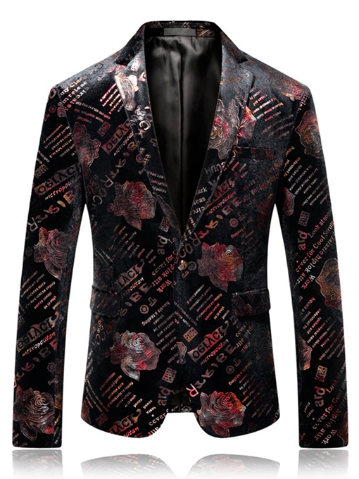 Notched Collar Flower Print Slim Men's Blazer