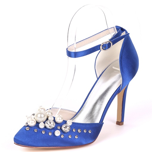 Beadworks Rhinestone Slingback High Heel Wedding Shoes for Women