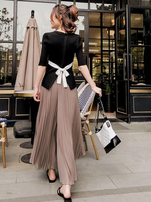 Bowknot Top with Pleated Pants Women's Suit