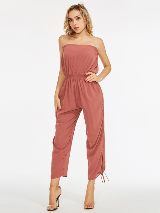 Backless Flounce Tube Women's Jumpsuit