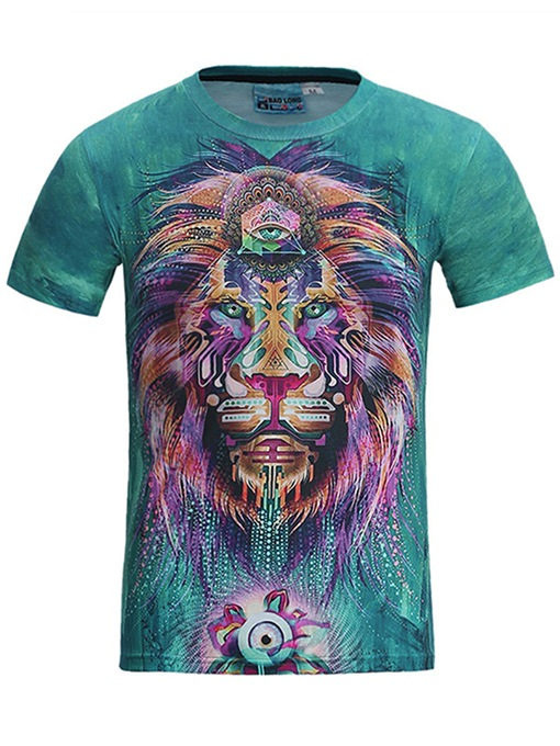 Lion Print Thin Slim Fit Men's T-Shirt