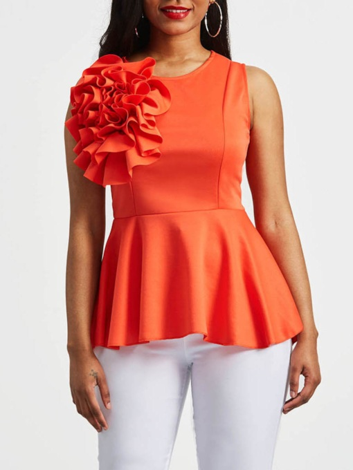 Applique Peplum Zip Up Sleeveless Women's Blouse