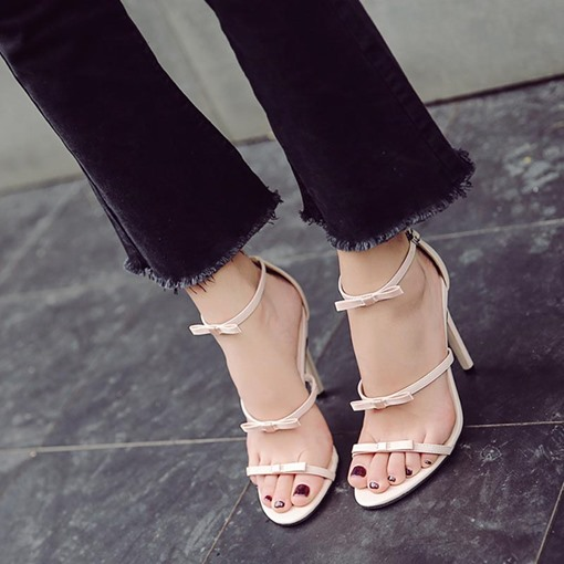 Line-Style Buckle Heel Covering Bow Summer Sandals for Women