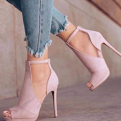 Plain Peep Toe Suede Stiletto Heel Pumps