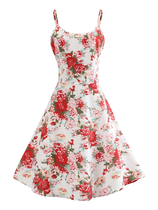 Spaghetti Strap Print Floral A-Line Day Dress