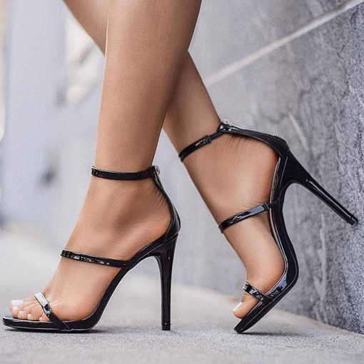 Plain Open Toe Zipper Heel Sandals