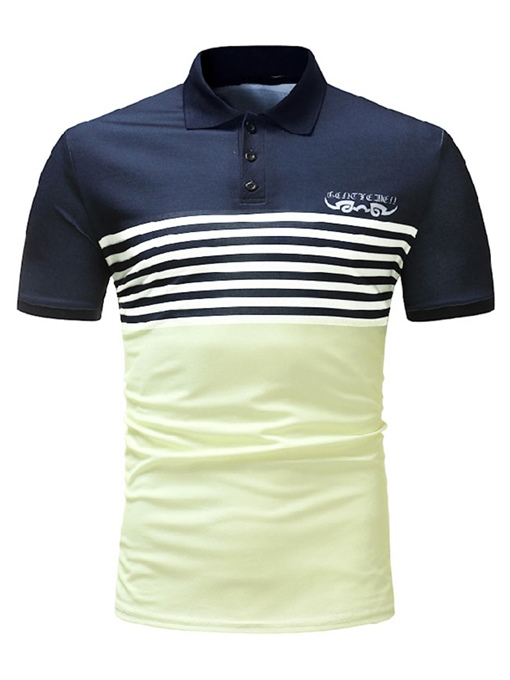 Lapel Stripe Patchwork Slim Men's Polo