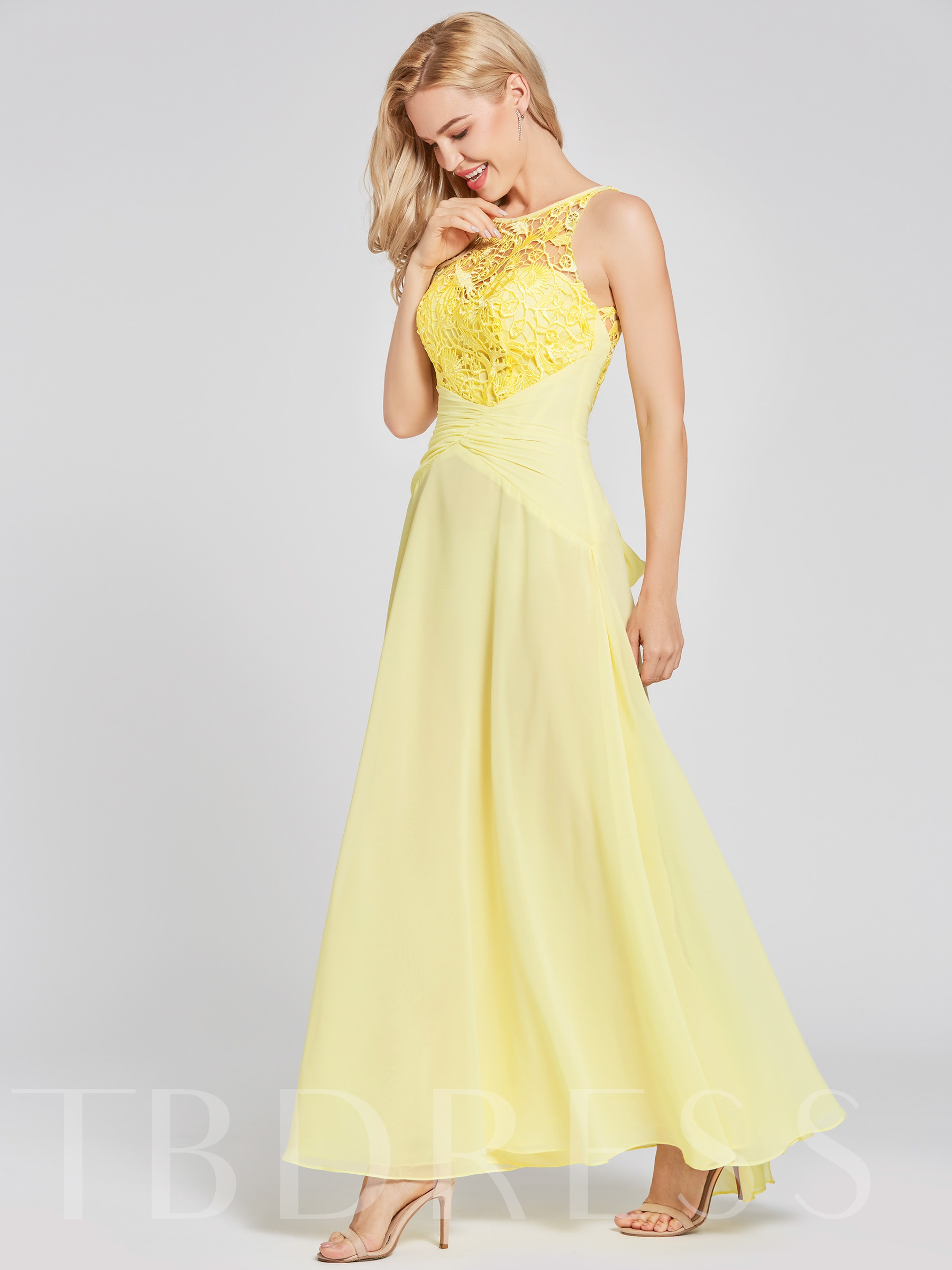 Image of Scoop Neck Lace Appliques A-Line Prom Dress