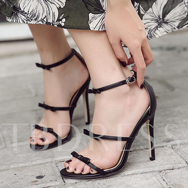 Buy Line-Style Buckle Heel Covering Bow Summer Sandals for Women, Spring,Summer, 13295539 for $34.26 in TBDress store