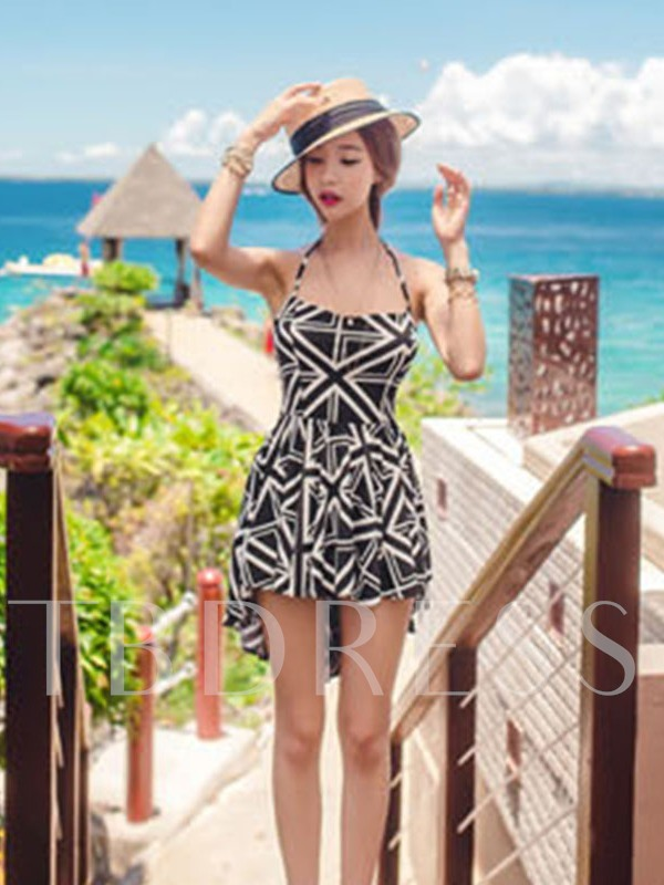 Patchwork One Piece Plaid Women's Swimwear