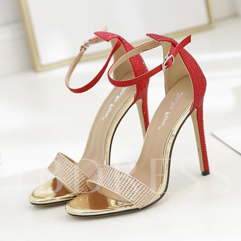 Open Toe Heel Covering Stiletto Heel Rhinestone Women's Sandals