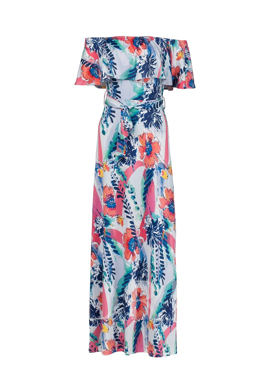 Buy Off-The-Shoulder Print Falbala Maxi Dress, Summer, 13285829 for $24.99 in TBDress store