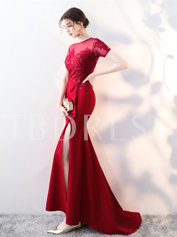 Memaid Scoop Asymmetry Appliques Sequins Evening Dress