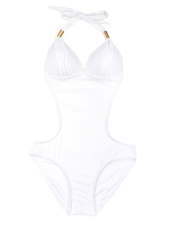 Plain Hollow Halter Sexy One Piece Bathing Suits