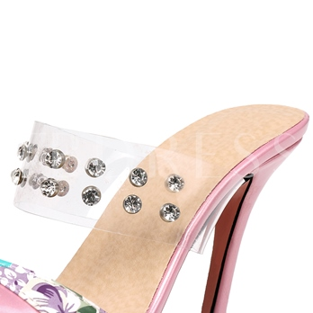 Floral Patchwork Closed Toe Rhinestone Sandals for Women