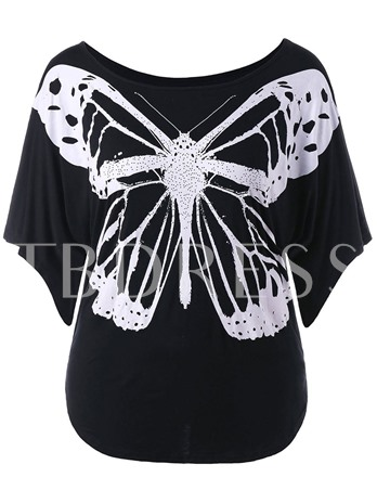 Butterfly Print Slim Fit Color Block Women's T-Shirt