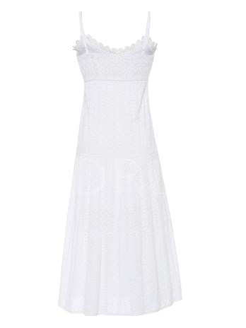 V-Neck Stringy Selvedge Mesh A-Line Dress
