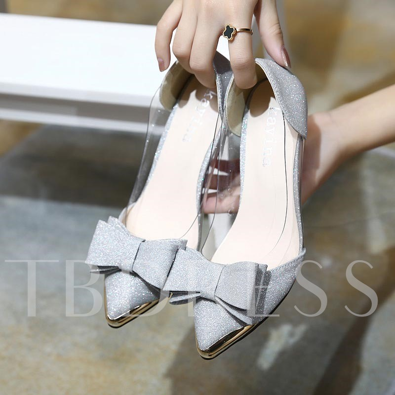 Pointed Toe Bowknot Sequin Women's Chic High Heels