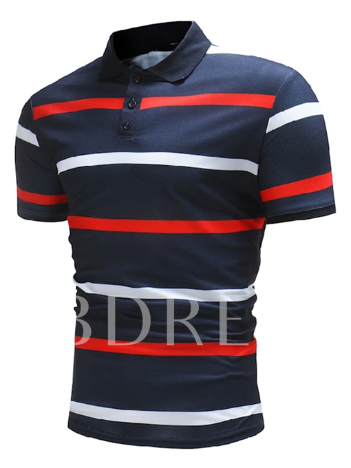 Plain Stripe Slim Men's Polo