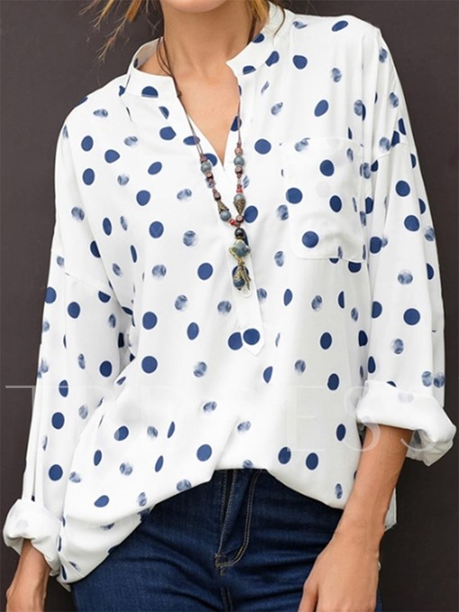 Stand Collar Polka Dot Long Sleeve Women's Blouse