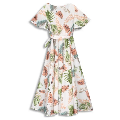 V-Neck Floral Printing High Waist Day Dress