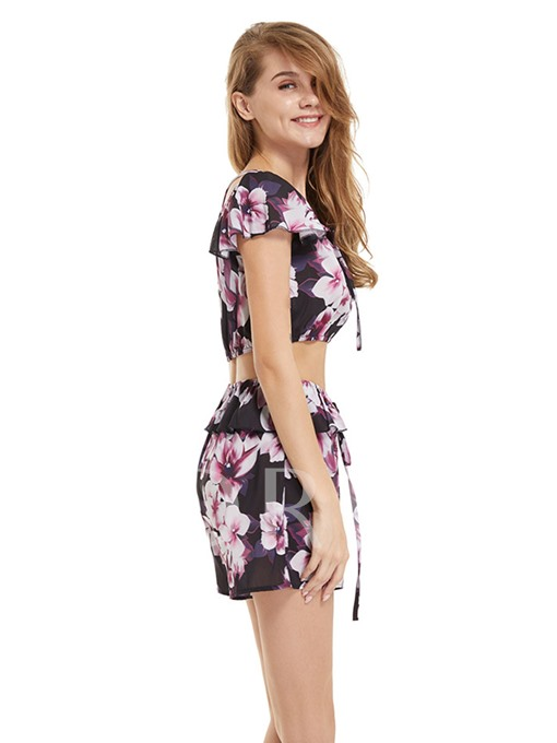 Floral Print Tie Front Women's Two Piece Set