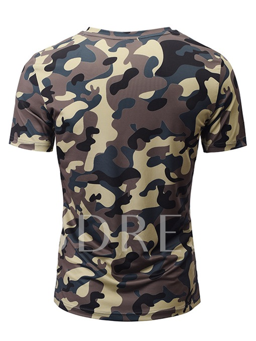 V-Neck Camouflage Slim Men's T-Shirt