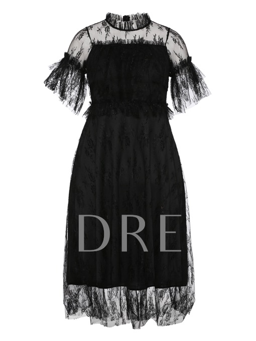 Polo Neck Mesh Lace A-Line Dress