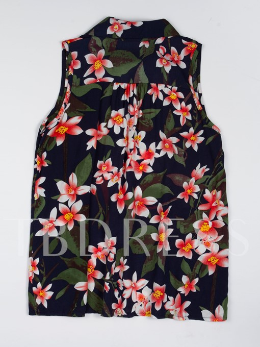 Single-Breasted Polo Neck Floral Print Women's Shirt